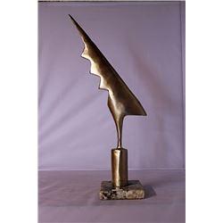 Thunder Bolt - Gold over Bronze Sculpture - after Constantin Brancusi