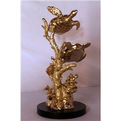 Sea Turtles - Gold over Bronze Sculpture after SPI