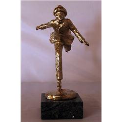 Skater  - Gold over Bronze Sculpture - after Dennis Smith