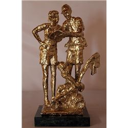 Lost in Fantasy Land - Gold over Bronze Sculpture - after Dennis Smith