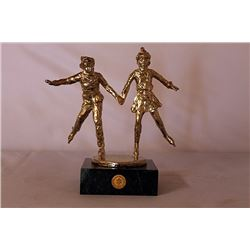 Together on the Glass - Gold over Bronze Sculpture - after Dennis Smith