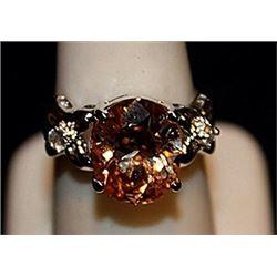 Gorgeous Golden Citrine & White Topaz SS Ring. (570L)