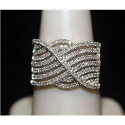 Very Fancy 14kt over Silver Ring with Diamonds (117I)