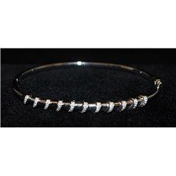 Fancy Silver Bangle with Diamonds (123I)