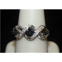 Beautiful Silver Ring with Black & White Diamonds (124I)
