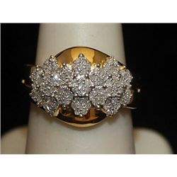 Beautiful 14kt over Silver Ring with Cluster Diamonds (5I)