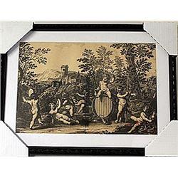 Framed Bartolozzi Francesco-BACCANALE DI PUTTI Engraving (77E-EK)