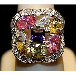 Fancy Multi Colored Sterling Silver Ring. (729L)