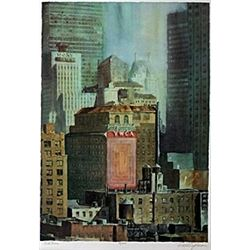"""Lithograph """"Midtown""""  Rodell C. Johnson"""