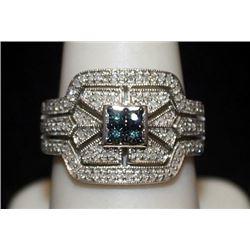 Beautiful Silver Ring with Lab Alexandrite & Diamonds (147I)