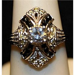 Gorgeous White Zirconia with Black Diamonds SS Ring. (751L)