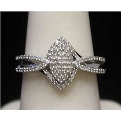 Gorgeous Silver Ring with Cluster Diamonds (157I)