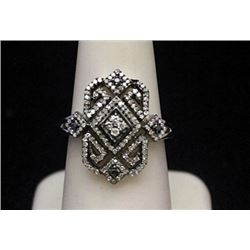 Beautiful Silver Ring with Black & White Diamonds (165I)
