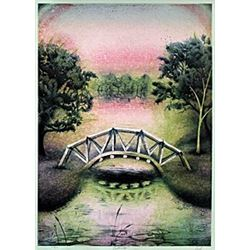 "Pencil Signed Serigraph, Entitled: ""Foot Bridge"""