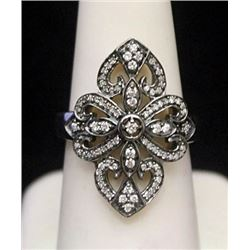 Fancy Silver Antique Style Ring with Black & White Diamonds (174I)