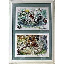 Framed 2-in-1 Marc Chagall Lithographs (145E-EK)