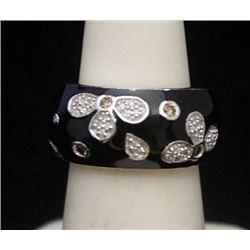 Lady's Gorgeous Silver Ring with Black Onyx & Diamonds (179I)