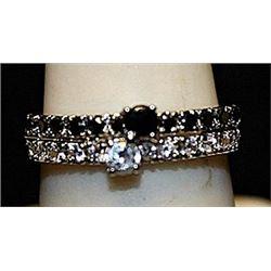 Beautiful Black Topaz & White Sapphires SS Ring. (271L)