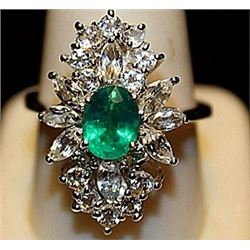 Fancy Lab Emerald & Sapphires SS Ring. (259L)