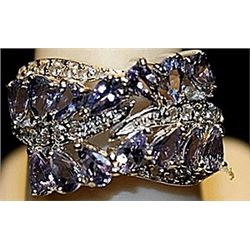 Fancy Tanzanites Sterling Silver Ring. (256L)