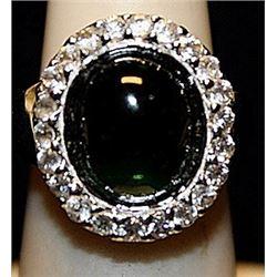 Beautiful Black Onyx & White Sapphires SS Ring. (258L)