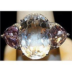 Beautiful White Zirconia & Pink Sapphires SS Ring. (208L)