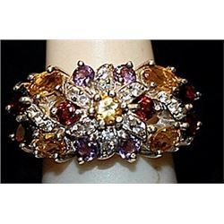 Gorgeous Multi Colored Stones SS Ring. (177L)
