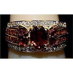 Fancy Golden Garnets Sterling Silver Ring. (158L)