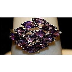 Gorgeous Purple Lab Sapphires Sterling Silver Ring. (216L)