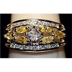 Beautiful White & Yellow Sapphires SS Ring. (512L)