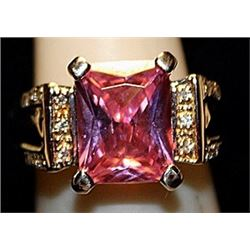 Fancy Pink Lab Sapphire with Diamonds SS Ring. (515L)