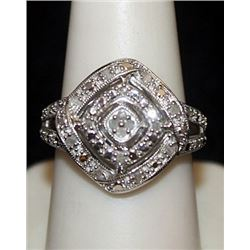 Lady's Fancy Silver Ring with Diamonds (77I)