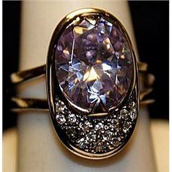 Gorgeous Kunzite & White Topaz SS Ring. (534L)