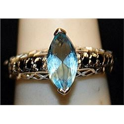 Gorgeous Topaz & Sapphires Streling Silver Ring. (537L)