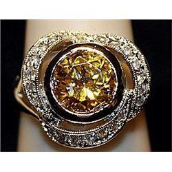 Fancy Yellow Sapphire & white Topaz SS Ring. (538L)