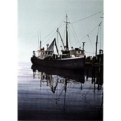 """Lithograph """"Early Morning on Greenport""""  Helen Rundell"""