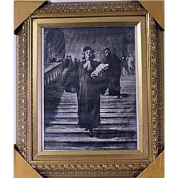 Framed Honoré Daumier-The Grand Staircase of the Palace of Justice Engraving (32E-EK)