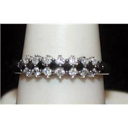 Beautiful Silver Ring with Black & White Diamonds (87I)