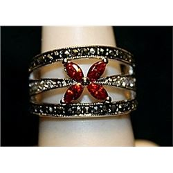 Beautiful Sapphires, Marcasite & Diamonds SS Ring. (545L)