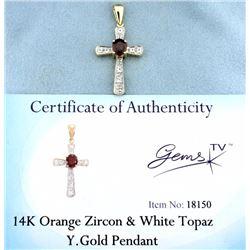 Orange Zircon & White Topaz pendant