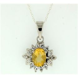Citrine Sterling silver pendant with sterling silver chain