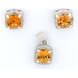 Azotic Topaz & Diamond Earrings & Pendant set