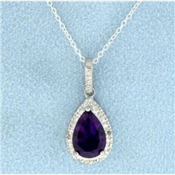 2 ct Amethyst and Diamond Pendant in Sterling Silver with Chain