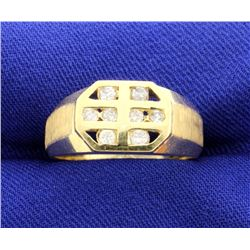 Contemporary Diamond 14k Yellow Gold Ring