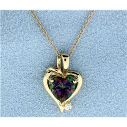 Gold Mystic Topaz Heart Pendant With Chain