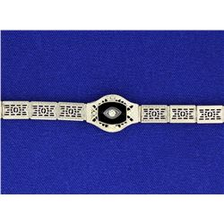 Vintage 14k Filigree Onyx & Diamond Bracelet