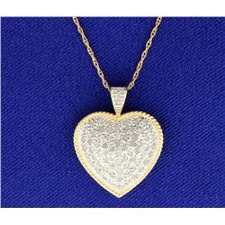 Diamond Yellow and White Gold 1 CT Heart Pendant