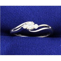3 Diamond 10k White Gold Ring