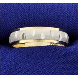 White and Yellow 14k Gold Wedding Band