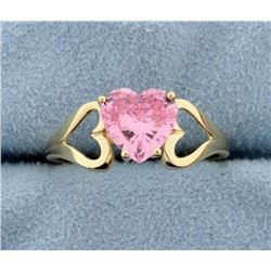 Pink Heart 14k Yellow Gold Ring